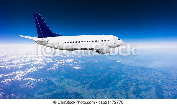 Landscape of Mountain. Airplane in the sky  - csp21172770