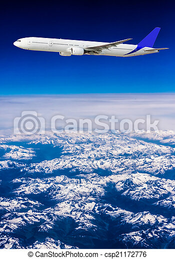 Landscape of Mountain. Airplane in the sky  - csp21172776