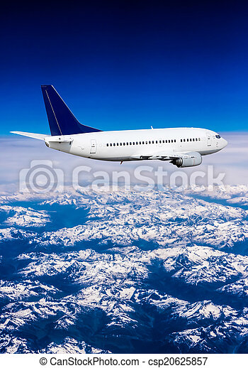 Landscape of Mountain. Airplane in the sky  - csp20625857