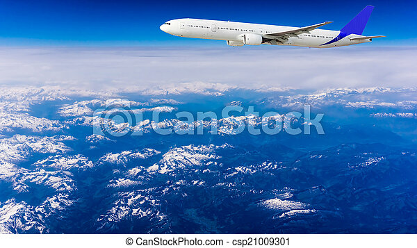 Landscape of Mountain. Airplane in the sky  - csp21009301