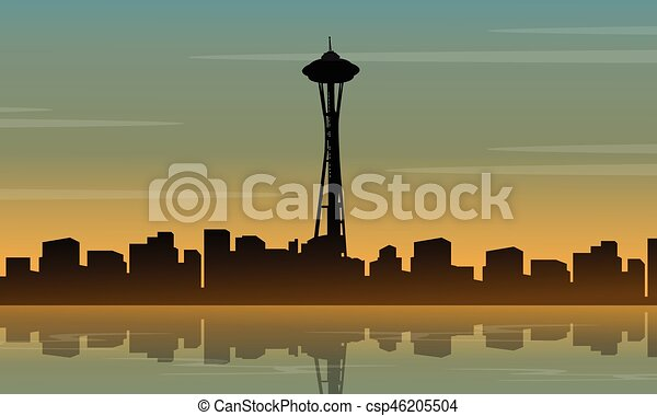landscape of seattle space needle tower silhouette vector art