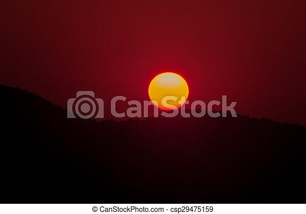 Landscape of sunrise over mountain. - csp29475159
