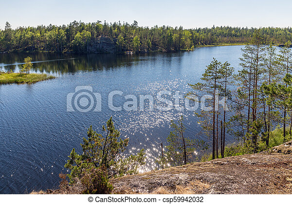 landscape on a forest lake - csp59942032