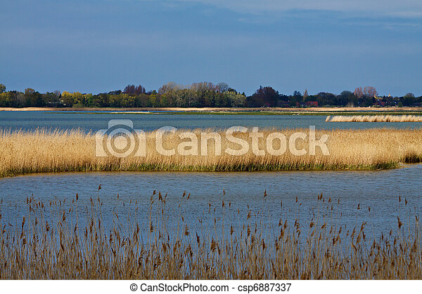 Landscape on a lake in Germany. - csp6887337