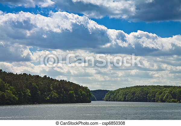 Landscape on a lake in Germany. - csp6850308