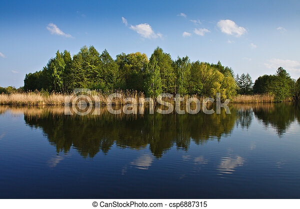 Landscape on a lake in Germany. - csp6887315