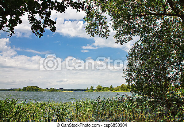 Landscape on a lake in Germany. - csp6850304