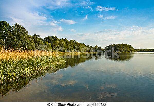 Landscape on a lake in Germany. - csp6850422