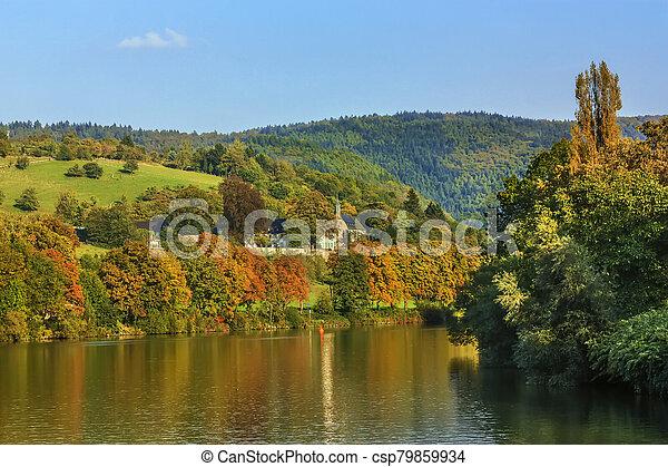 Landscape on Neckar river, Germany - csp79859934