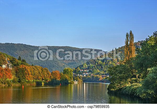 Landscape on Neckar river, Germany - csp79859935