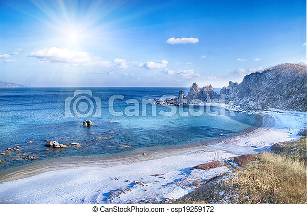 landscape on winter sea, - csp19259172
