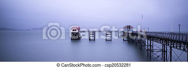 Landscape panorama long exposure peaceful image of Mumbles pier - csp20532281
