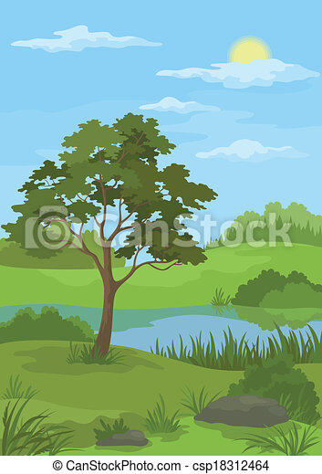 Landscape Pine Tree And Lake Summer Landscape With Pine