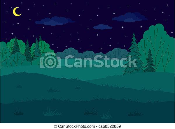 Landscape, summer forest glade - csp8522859