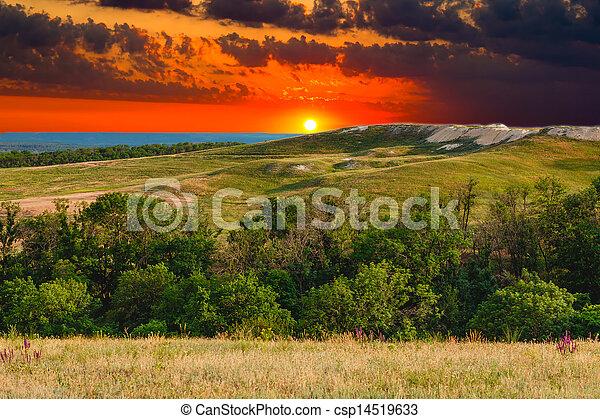 landscape sunset mountain sky green forest nature hill view summer blue grass tree - csp14519633