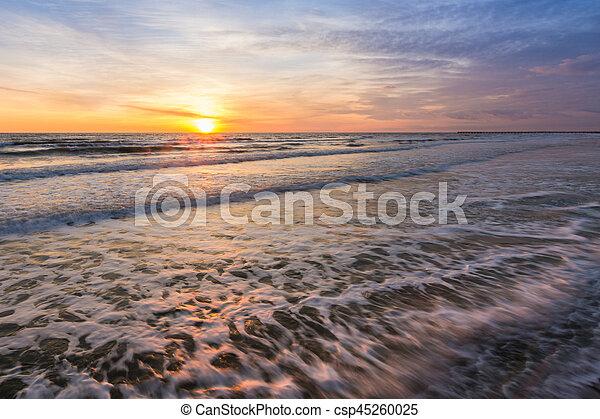 Landscape - sunset on the sea shore, Black sea, Anapa, Russia - csp45260025