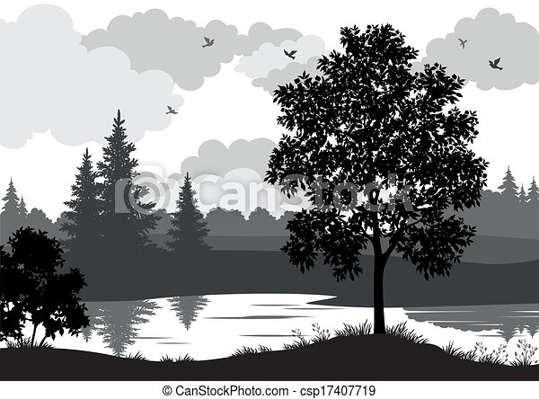Landscape, trees, river and birds silhouette - csp17407719
