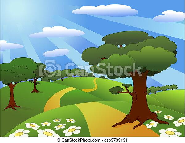 Landscape. Beautiful Meadow Landscape.
