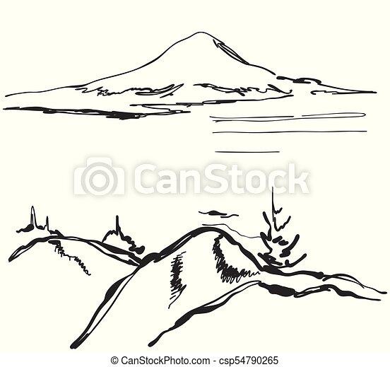 Landscape vector illustration. Hand drawn mountains sketch - csp54790265