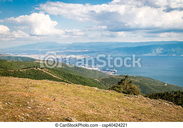 Landscape view to the Sea of Marmara and Derice in Turkey - csp40424221