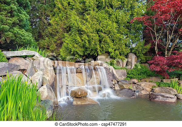 Bomen In Tuin : Landscape waterval tuin bomen. planten tuin keien rotsen