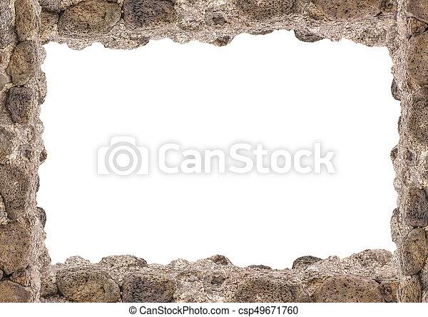 Landscape white frame with rock borders. White landscape frame ...