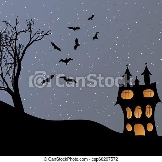Landscape with a Halloween castle - csp60207572