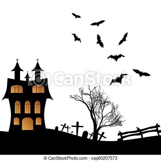 Landscape with a Halloween castle - csp60207573