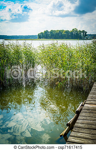 Landscape with a lake and an old bridge, a platform, a ladder into the water on a clear sunny day. - csp71617415