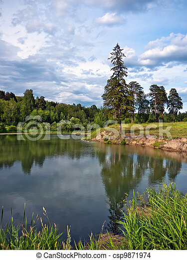 Landscape with a lake - csp9871974