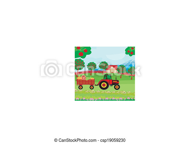 landscape with apple trees and man driving a tractor with a trailer full of vegetables  - csp19059230