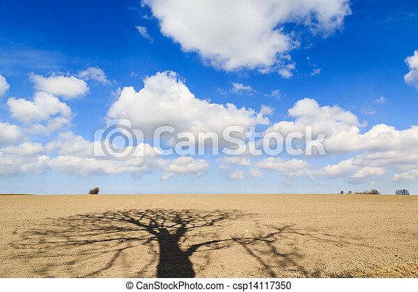 Landscape with beautiful cloudscape and shadows - csp14117350