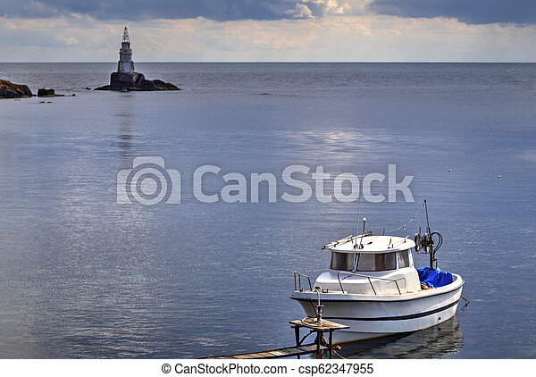 Landscape with boat in the sea - csp62347955