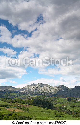 Landscape with cloudy sky - csp1769271