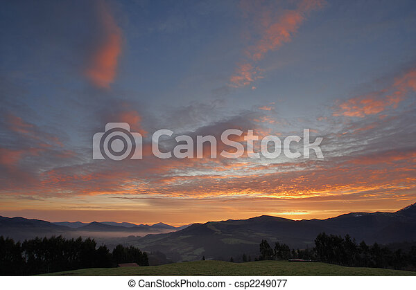Landscape with cloudy sky - csp2249077