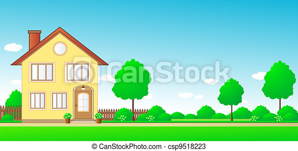 landscape with cottage and space fo - csp9518223