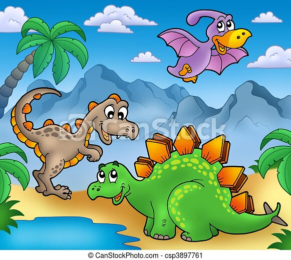 Landscape with dinosaurs 2 - csp3897761