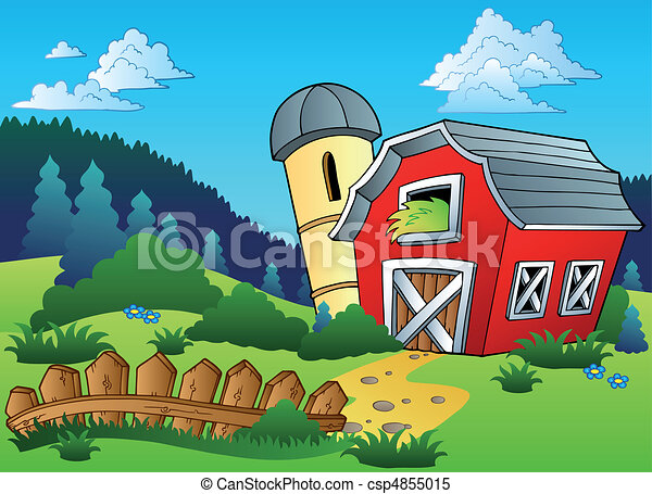 Landscape with farm and fence - csp4855015