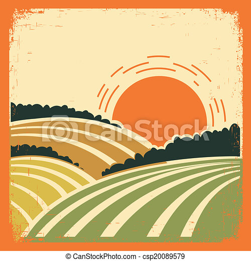 landscape with fields on old poster - csp20089579