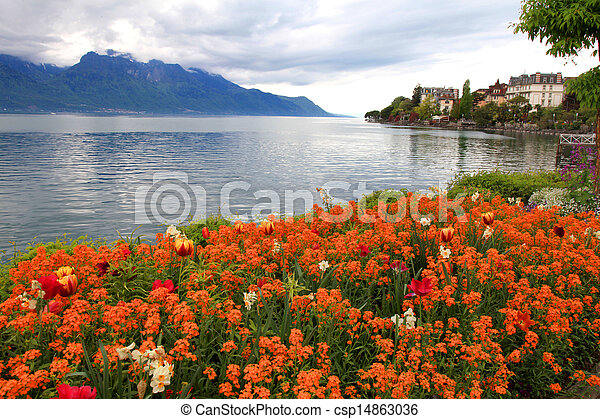 landscape with flowers and Lake Geneva, Montreux, Switzerland. - csp14863036