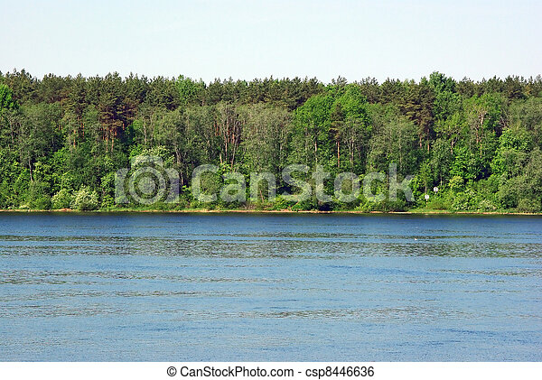 Landscape with forest and river bank - csp8446636