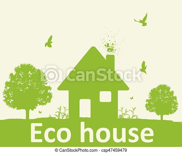 Landscape with green tree and house - csp47459479