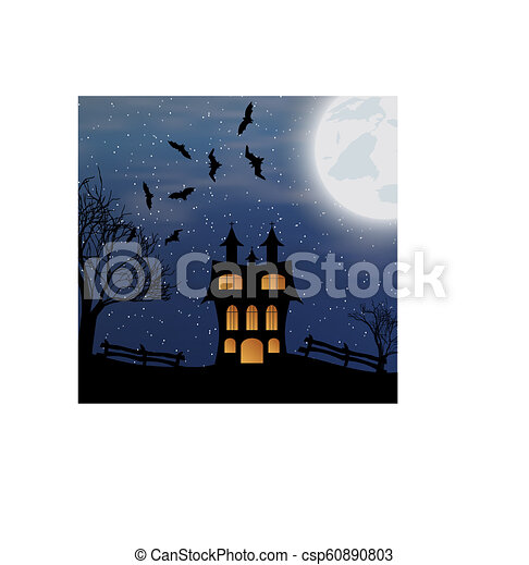 Landscape with halloween castle - csp60890803