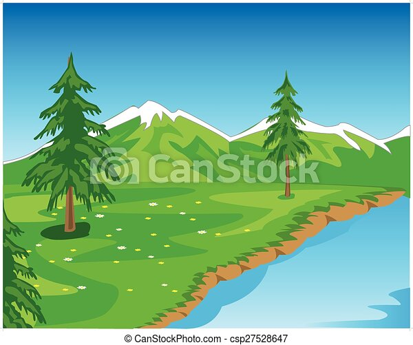 Landscape with mountain - csp27528647