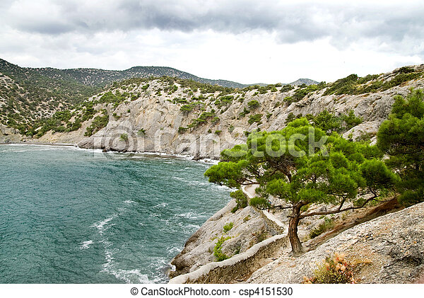 landscape with mountains and sea - csp4151530