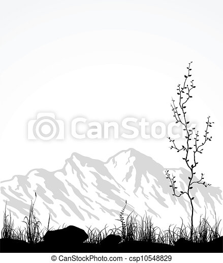 Landscape with mountains, glass and tree. - csp10548829