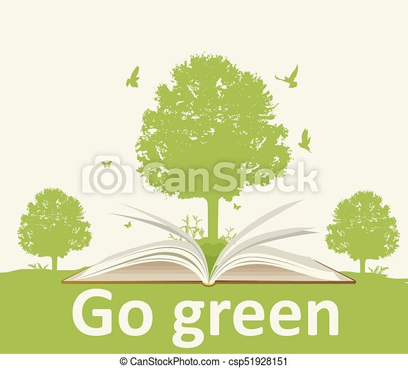 Landscape with open book and tree - csp51928151