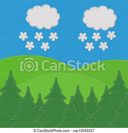 Landscape with pine forests in the mountains with stitch style on fabric background - csp12543337