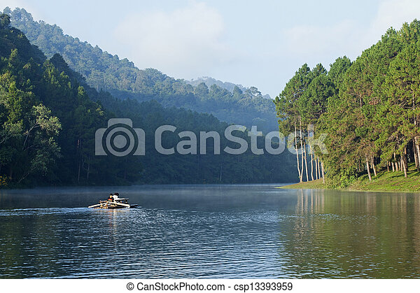 Landscape with pine trees lake - csp13393959