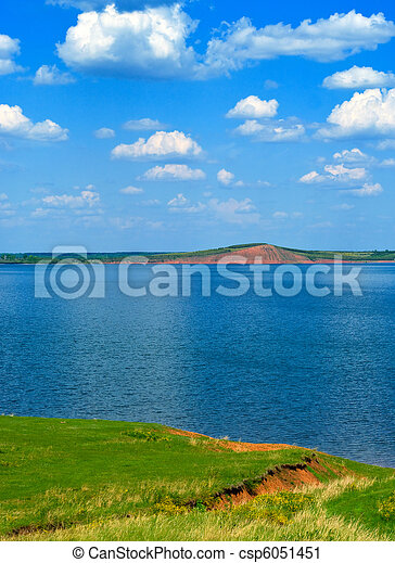 landscape with quiet water of lake - csp6051451